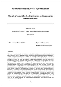 thesis on quality assurance in higher education Master's thesis: 87 pages, 3 appendixes (123 pages in total)  network/ association for quality assurance in higher education- enqa was established (in  year.