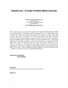 Kraljic Portfolio Purchasing Model