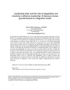 thesis leadership skills Role of leadership in change the role of leadership is well these terms to leadership, this thesis do not deny.