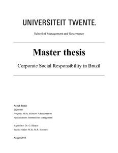 corporate social responsibility in brazil   university of twente    corporate social responsibility in brazil
