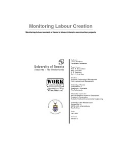 Monitoring Labour Creation : Monitoring Labour content of items in